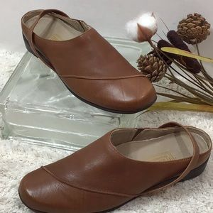 Munro tan leather slip on with heel strap